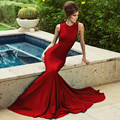 Fashion 2016 Custom Made Red Satin High Celebrity Dresses Simple Cheap Long Train Formal Evening Dresses Women