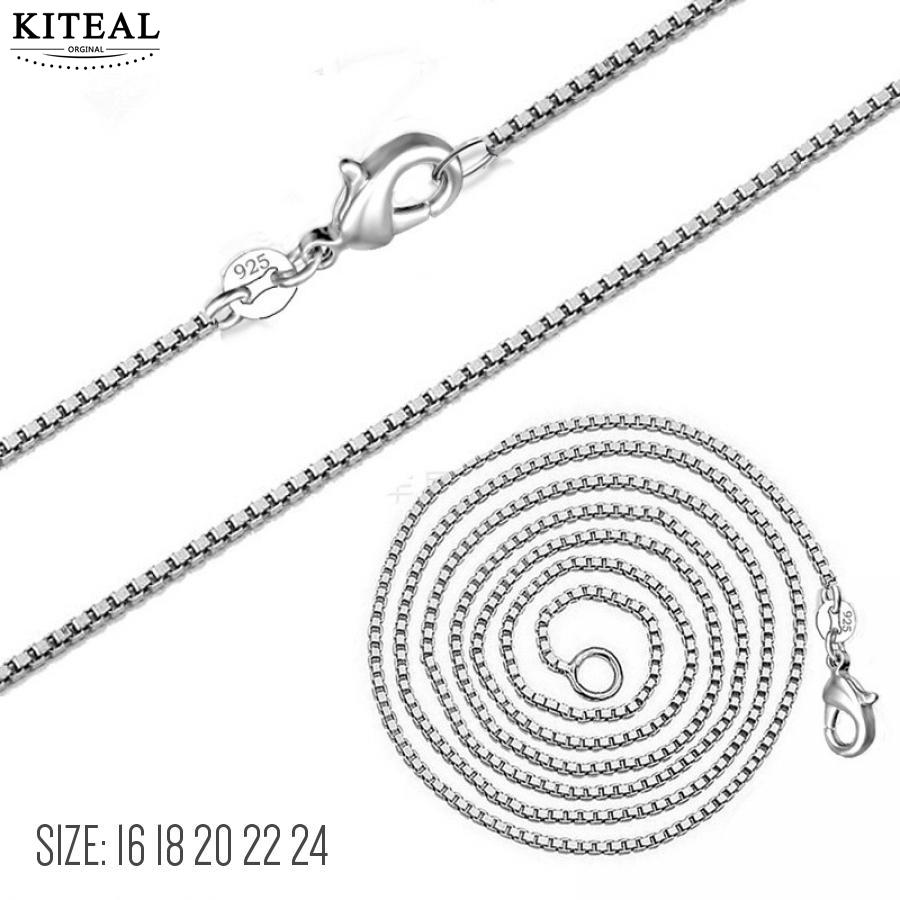 Kiteal New 1.4mm 16 18 20 22 24inch Round Box Chain Silver Color women&Men Cuban Necklace Various Sizes
