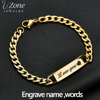 Uzone Custom Engrave Name ID Bar Bracelet Gold Color Stainless Steel Initial Charm Bracelets For Couples Personalize Jewelry men women personalize engrave name image stretch bracelet with elastic stainless steel band custom bangles unisex jewelry