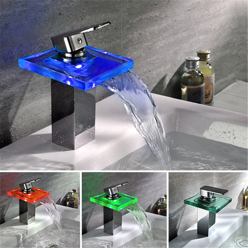 Water powered Bathroom Waterfall Led Faucet. Glass Waterfall Brass Basin Faucet. Bathroom Deck Mounted basin sink Mixer Tap 2016 wholesale high quality no need battery water powered led waterfall bathroom faucet basin mixer taps