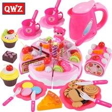 37-80 шт. DIY ролевые игры фруктовая резка торт на день рождения кухня еда игрушки Cocina De Juguete игрушка розовый синий подарок для девочек для детей