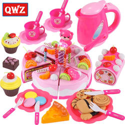 37-80 шт.. DIY ролевые игры фрукты резка День Рождения Торт кухня еда игрушки Cocina De Juguete игрушка розовый синий подарок для девочек для детей