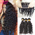 360 Lace Frontal With Bundle Deep Wave Brazilian Virgin Hair Baby Hair 360 Frontal With Bundles Brazilian Deep Wave Human Hair