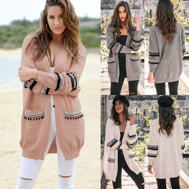 2d156705681 Women Knitted Cardigan Boho Tassel Chic Long Sleeve Stylish Sweater Autumn  Winter Lady Outwear Coat Top