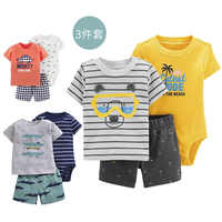 3PCS Newborn Boys Girls Baby Animal Outfit Set Cute Short Sleeve Romper
