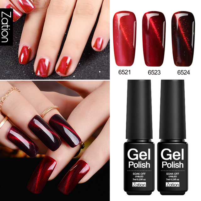 Zation Magnetic Red 3d Cats Eye 7ml Long Lasting Soak Of Gel Nail