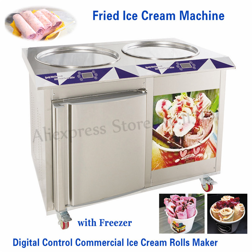 Electric Fried Ice Cream Machine 55cm 2 Pans Commercial Ice Cream Roll Maker+Built-in Freezer Stainless Steel Digital Control ce fried ice cream machine stainless steel fried ice machine single round pan ice pan machine thai ice cream roll machine