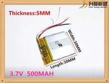 Envío libre batería de Polímero de 500 mah 3.7 V 503030 MP3 altavoces de casa inteligente li-ion para dvr, GPS, mp3, mp4, teléfono móvil, altavoz