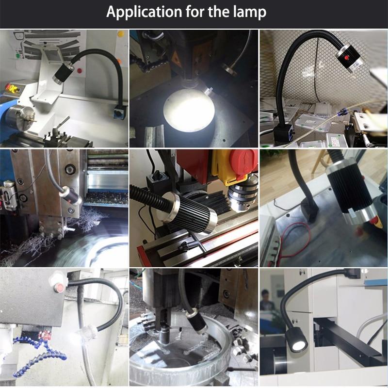 Купить с кэшбэком CRUBON 3W/9W 24V/220V Soft Rod Aluminum High Power LED CNC Machine Light Working Table Lamp Milling Machine Lights