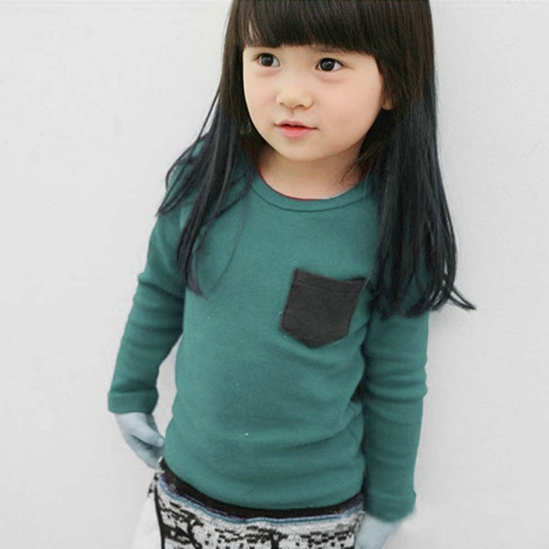 Baby T-Shirt Tee-Tops Boys Tees Long-Sleeve Toddler Girls Autumn Kids Cotton Solid
