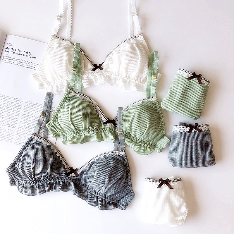 Wriufred Women Cotton Lace Underwear Bow Brassiere Sets Thread Comfort Bra Set Sexy Ladies lingerie Plus Size 3/4 Cup Bras