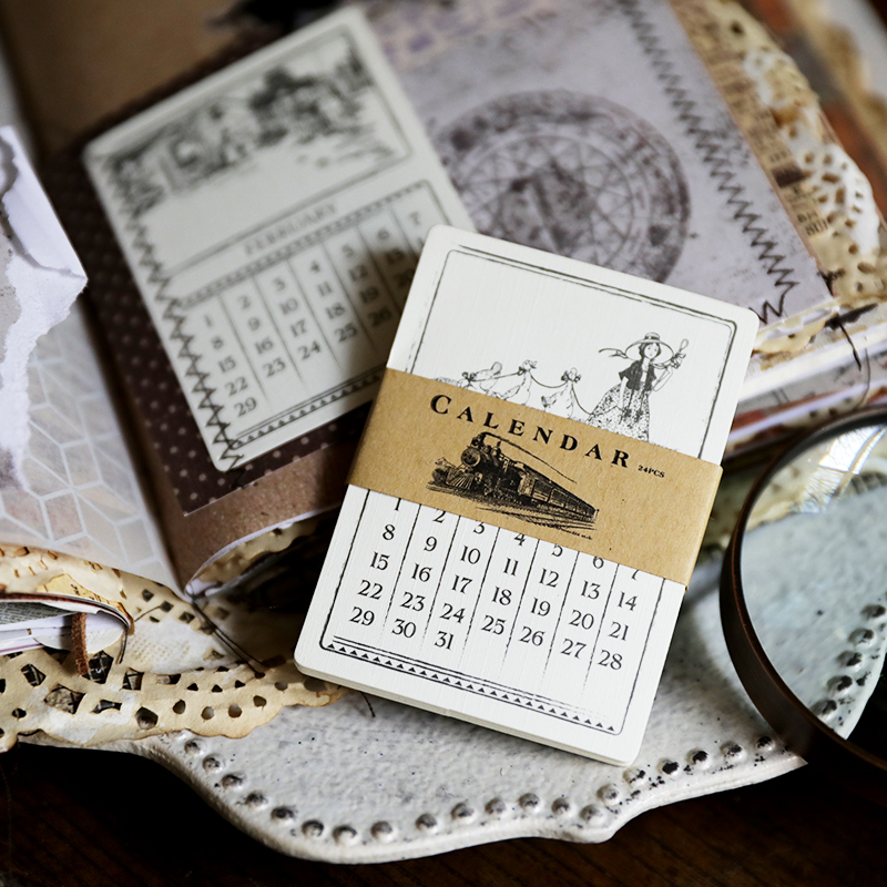 24Pcs Vintage Calendar Style Decorative Paper Pocket Cards DIY Scrapbooking Projects/Photo Album/Label/Diary/Card Making Crafts