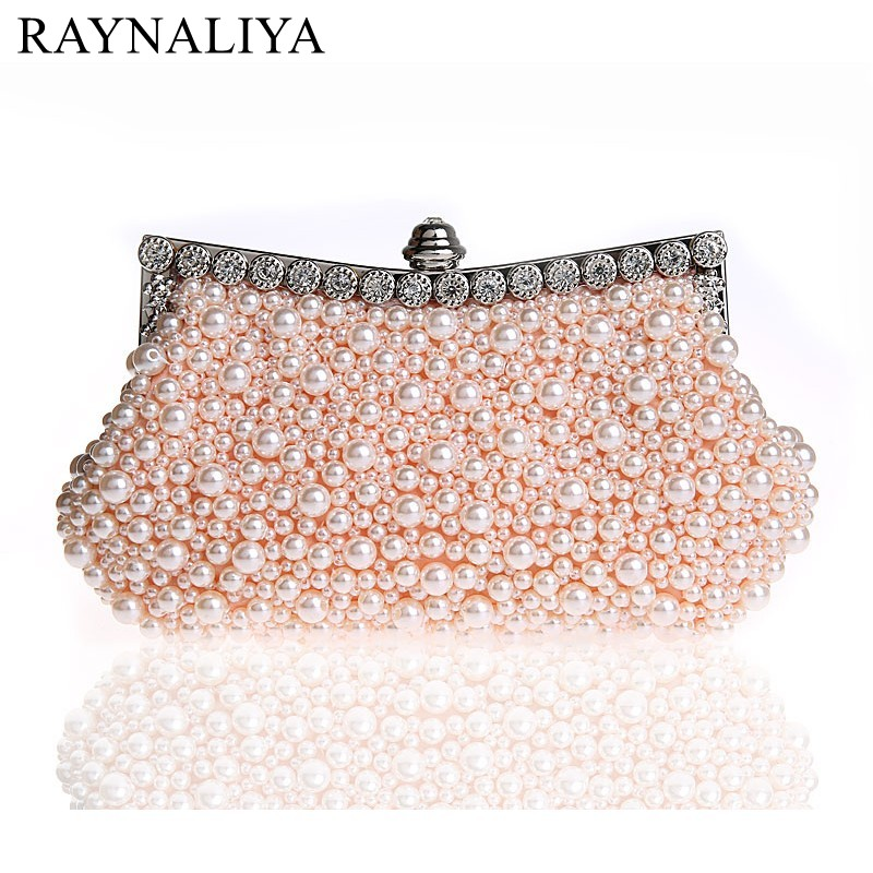 Day Clutch Beaded Women Evening Bags Diamonds Metal Small Handbags Imitation Pearl Chain Shoulder Purse Bag Smysfx-e0043