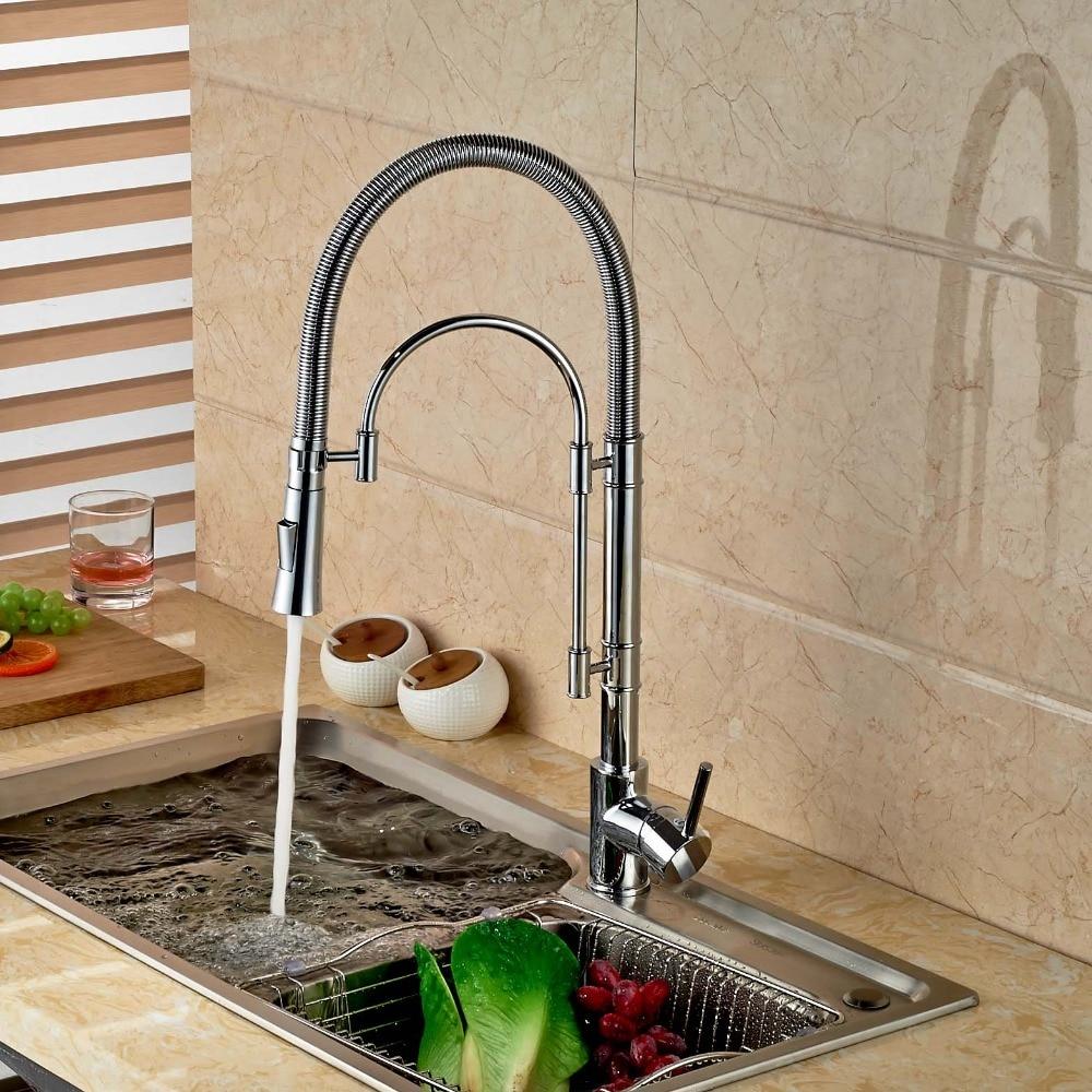Modern Style Chrome Brass Spring Kitchen Faucet Swivel Spout Vessel Sink Mixer Single Handle Hole Sink Mixer Tap golden brass kitchen faucet dual handles vessel sink mixer tap swivel spout w pure water tap