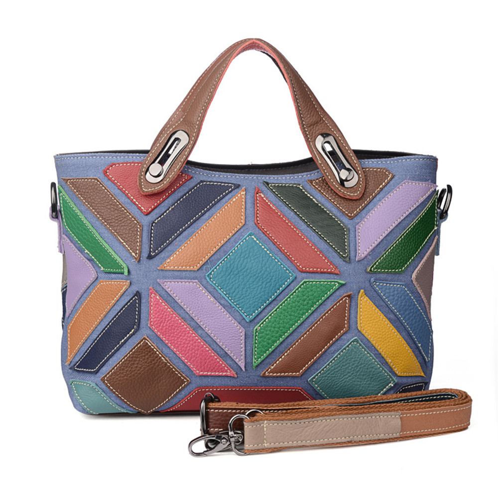 Fashion Genuine Leather women Bags Color stitching Handbags Women's Shoulder Bag Geometry Messenger Bag colorful handbag female fashion women handbags genuine leather shoulder bag solid multi color female handbag with free shipping