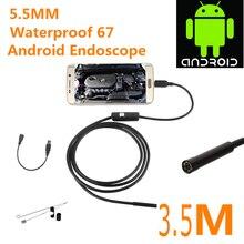 Cámara de Inspección endoscopio Endoscopio USB Android HD 6 Tubo LED 5.5mm Lente 720 P Impermeable Coche Endoscopio mini Cámara 3.5 M