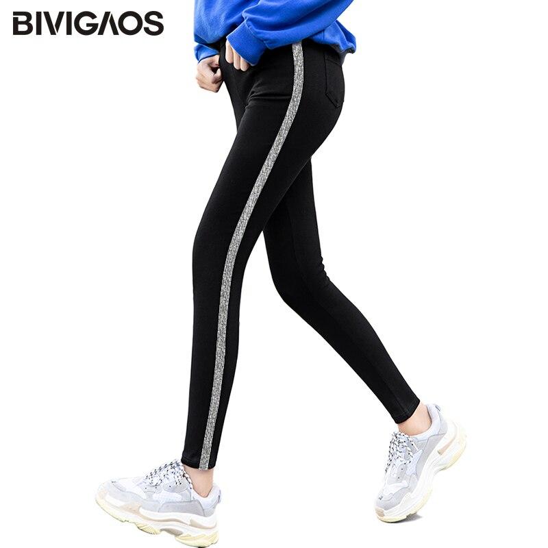 BIVIGAOS Autumn New Womens Leggings Side White Webbing Letters Ninth Pants Korean Black Elastic Skinny Legging Pencil Pants