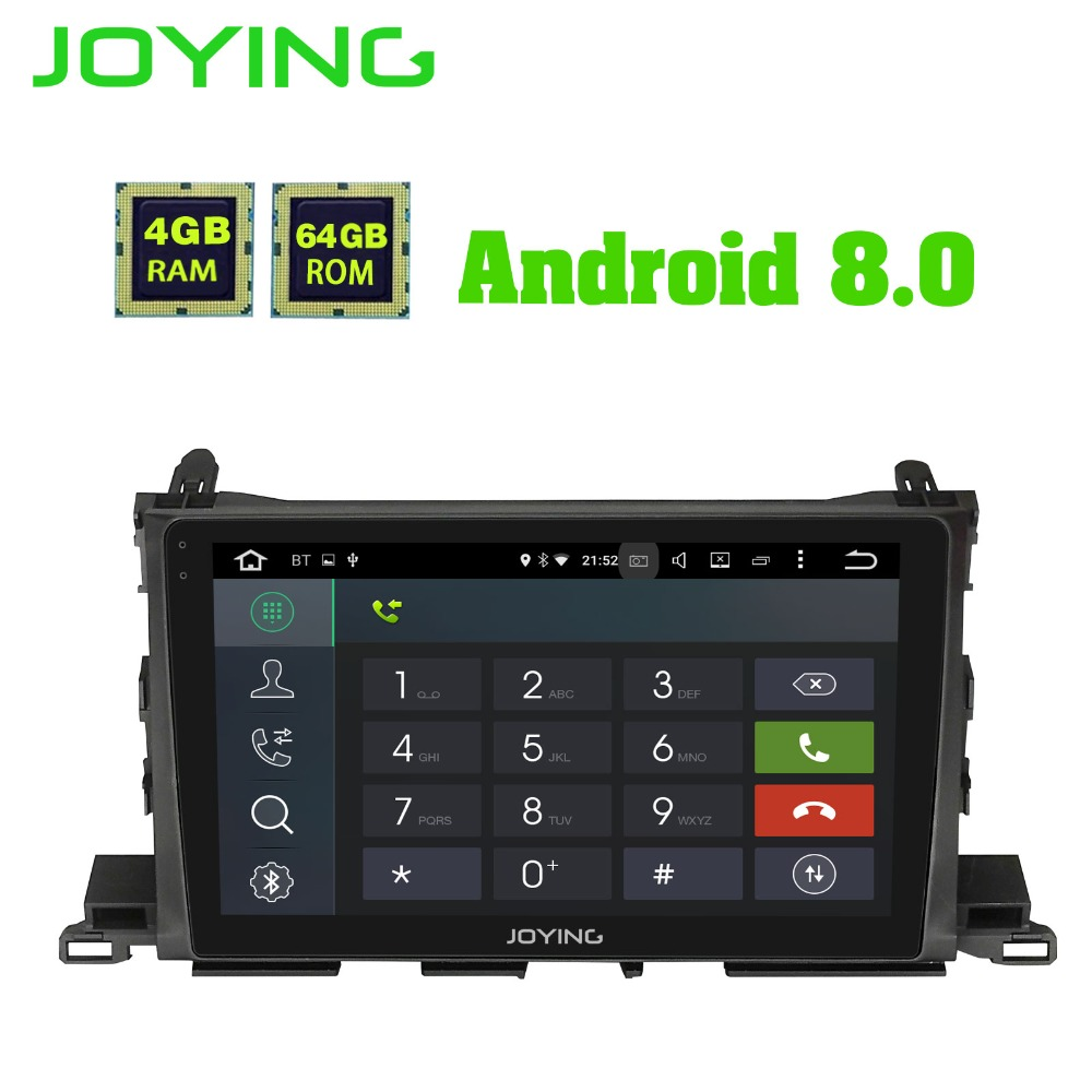 JOYING 10.1'' IPS Screen 64GB ROM 4GB RAM Octa 8 core Android 8.1 car GPS Radio DVD Player for Toyota Highlander 2015 2016 2017 joying hd 9 screen multimedia player 4gb ram octa core android 8 1 car dvd gps navigator radio for subaru forester 2008 2012
