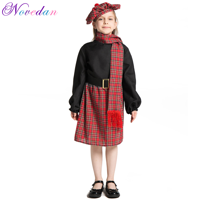 Red Lattice Scotland Girl Costumes Party Fancy National Dress Halloween Cosplay Carnival Costume