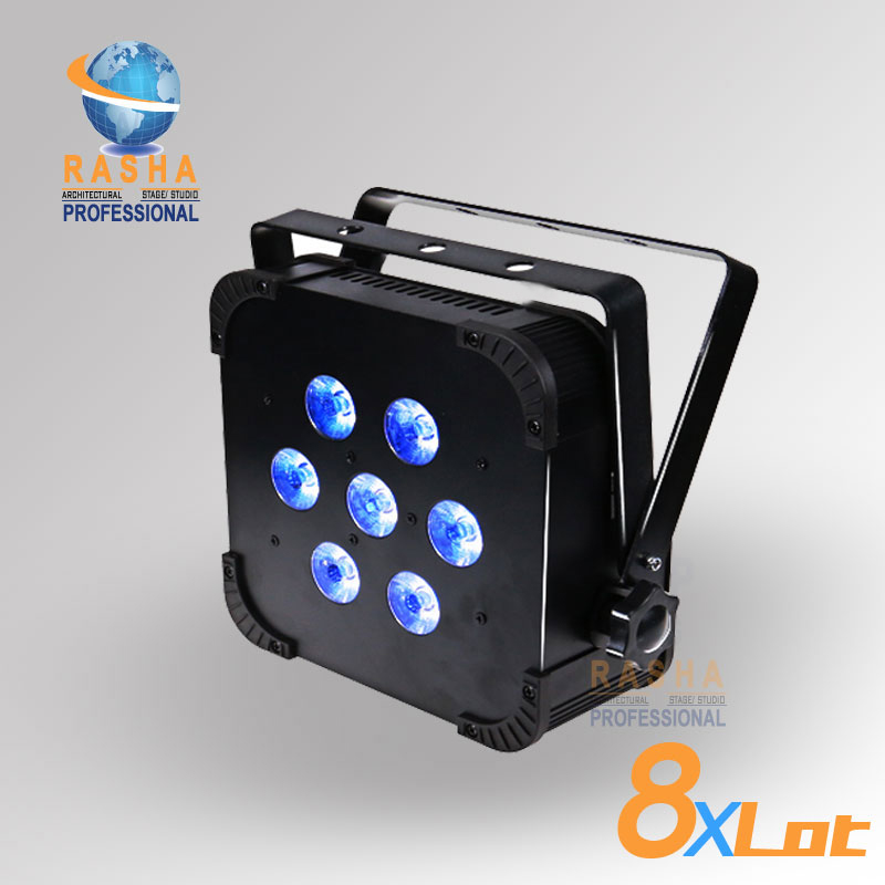 8X LOT Rasha Quad 7pcs*10W RGBA/RGBW 4in1 DMX512 LED Flat Par Light,Wireless LED Par Can For Disco Stage Party 2x lot rasha quad factory price 12 10w rgba rgbw 4in1 non wireless led flat par can disco led par light for stage event party