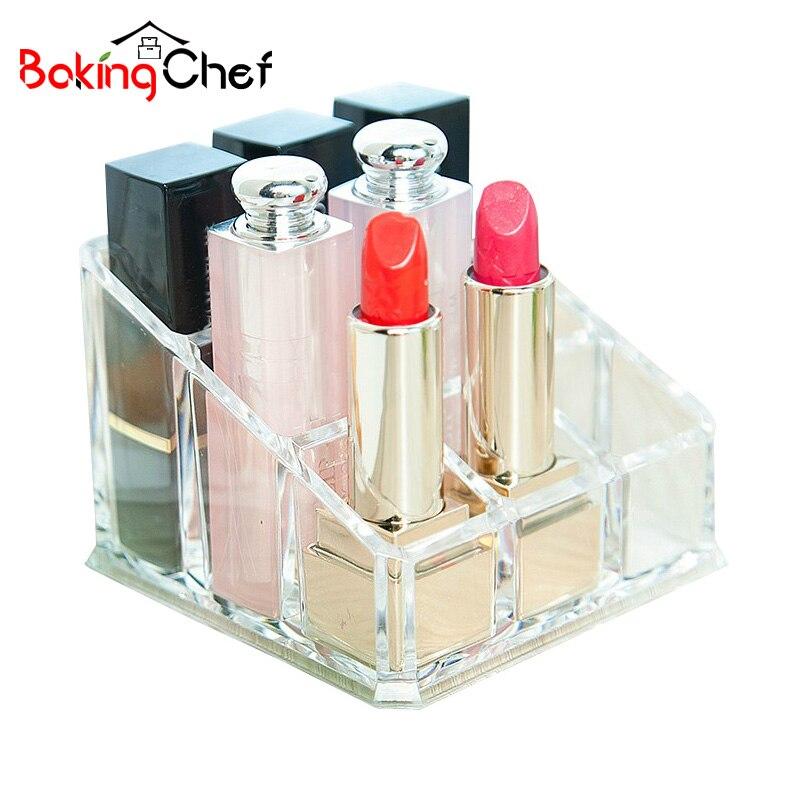 BAKINGCHEF 9 Grid Lipstick Box Makeup Brush Tidy Storage Case Transparent Cosmetic Organizer Accessories Stuff Supplies Gear