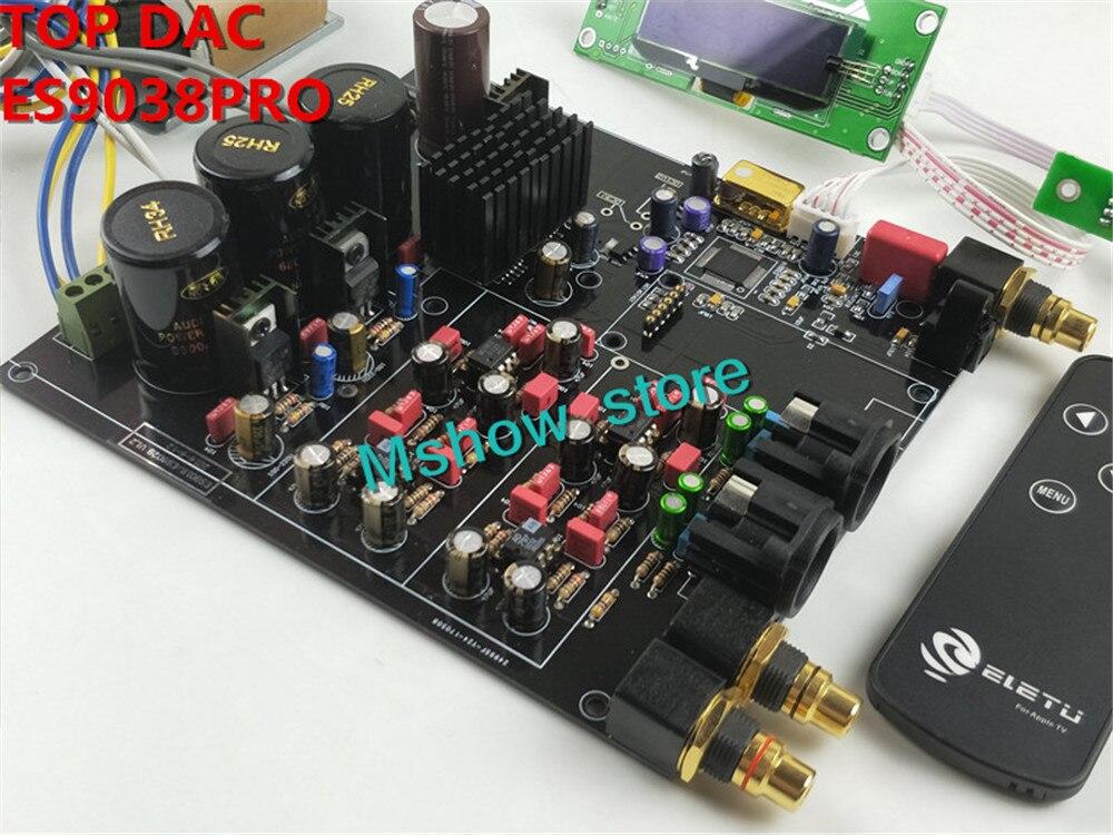 NEW hifi TOP ES9038 ES9038PRO DAC decoder assembled board + TCXO 0.1PPM + remote control + option USB XMOS XU208 or Amanero цена