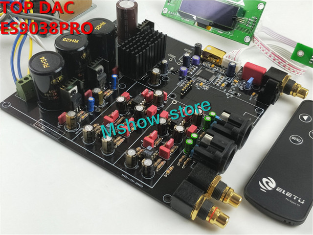 لوحة فك الترميز الجديدة hifi TOP ES9038 ES9038PRO DAC لوحة مجمعة + TCXO 0.1PPM + جهاز تحكم عن بعد + خيار USB XMOS XU208 أو Amanero