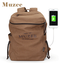 Фотография Muzee New Men Backpack Canvas Backpack Bags College Student Book Bag Large Capacity Fashion Backpack 15.6inch Laptop Bag