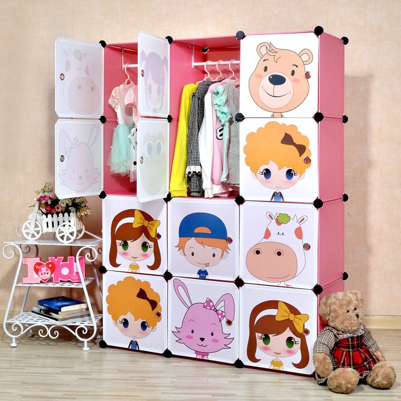 2016 Special Offer Real Red White Black Armario 16 Cubes Diy Childrenu0027s  Simple Wardrobe Kids Closet