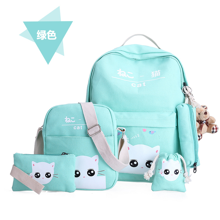 Girl bag student child backpack cartoon travel casual backpack Korean version of the backpack 6in1