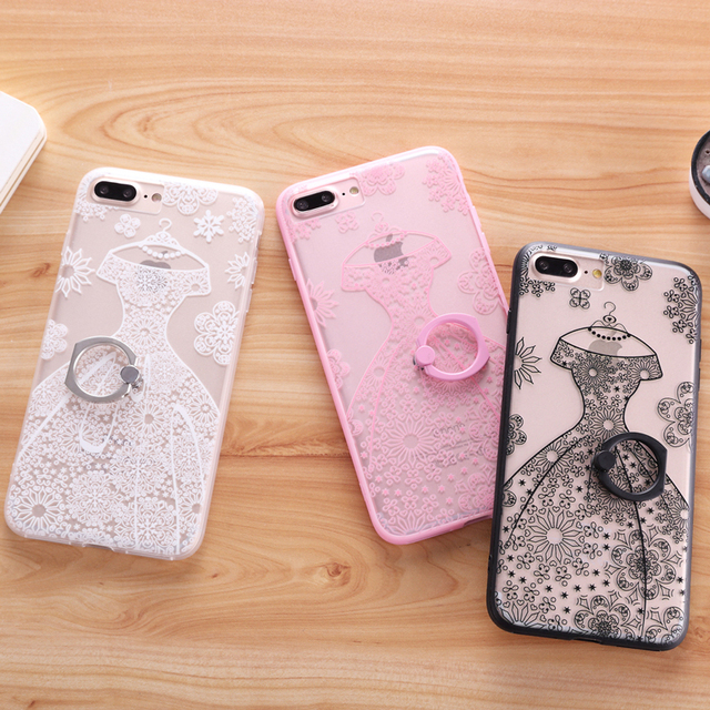 premium selection a9618 7dac5 US $3.87  CYBORIS Ring Grip Lace Floral 14 Pattern Case For iphone 7 7plus  Girly Fashion Hard Back Cover Cases For iphone 6 6s 6plus Capa on ...