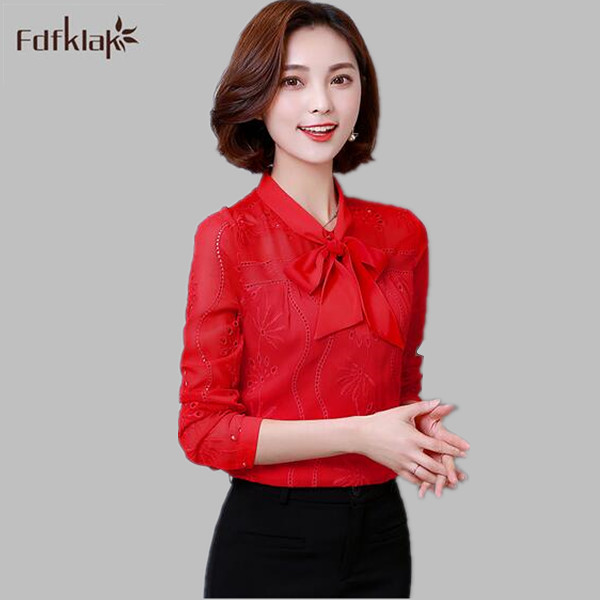 New fashion 2017 women's blouses long sleeve plus size women tops elegant ladies shirts blouse femme shirt with bow S 3XL A490