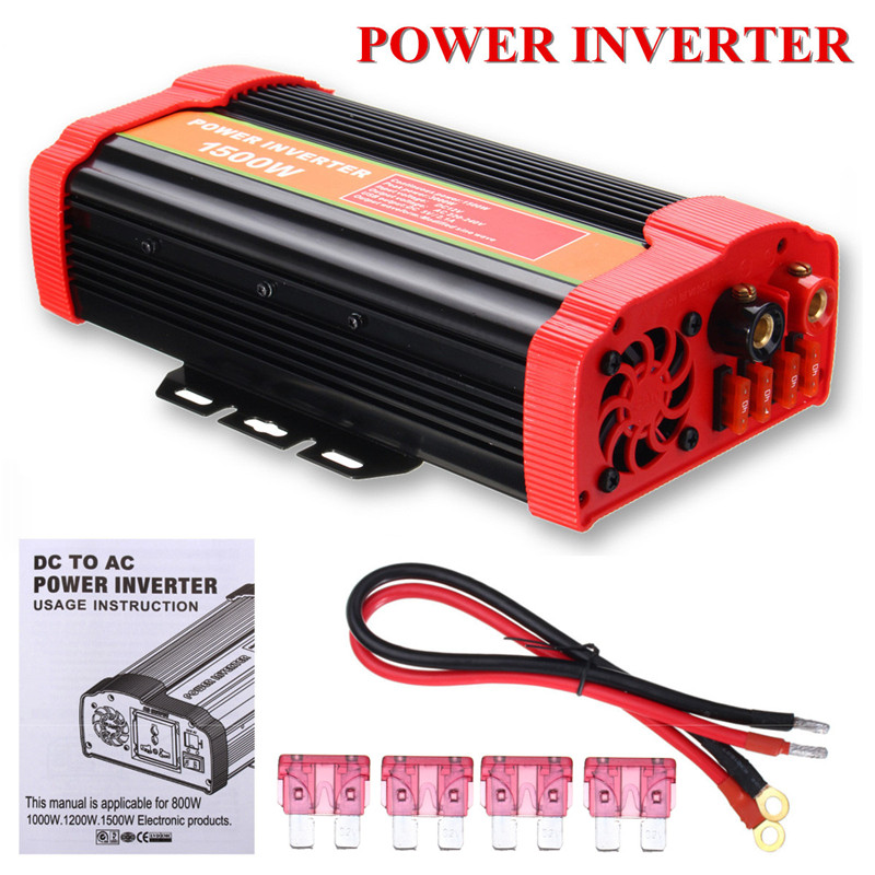Car inverter MAX 3000W DC 12V to 220V 2 USB charging ports Power inverter connect Adapter Kit