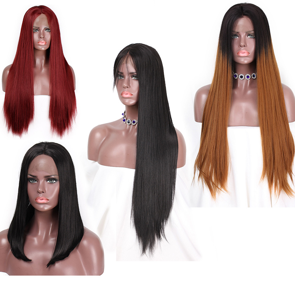 Image 2 - AISI HAIR 26 Inches Long Black Wig Straight Synthetic Lace Front Wigs for  Women Natural Color Heat Resistant Futura Hair-in Synthetic Lace Wigs from Hair Extensions & Wigs