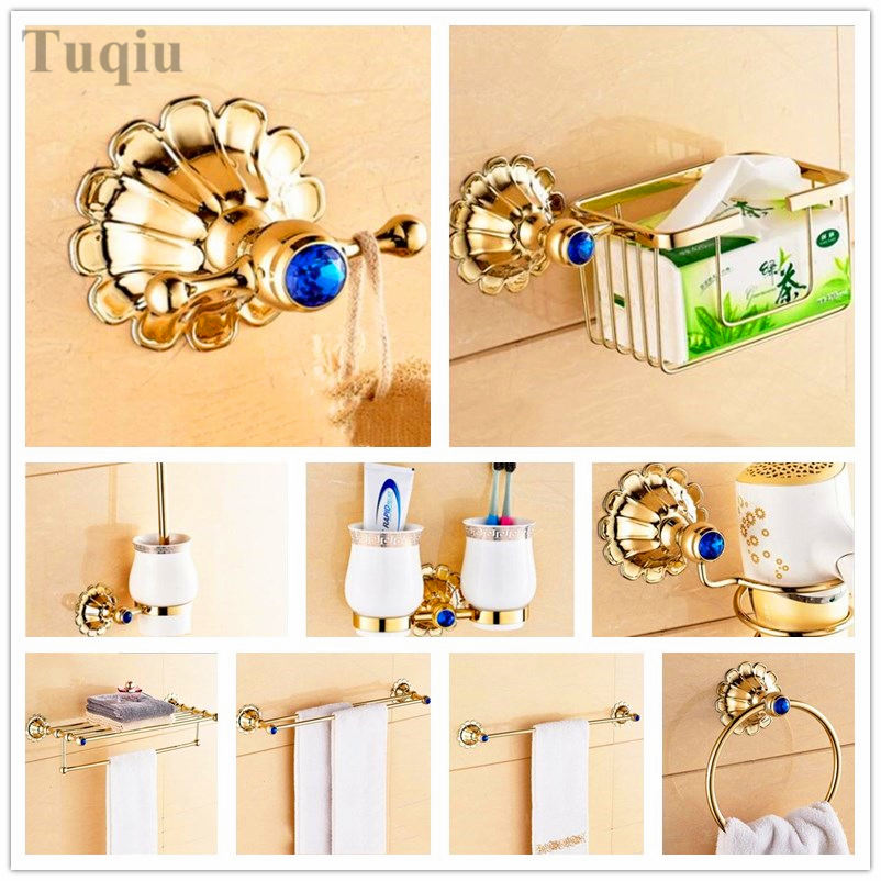 Free Shipping solid brass bathroom accessories set robe hook towel bar toilet paper holder towel holder toilet brush holder chinese style ceramic gloden bath hardware bathroom accessories set robe hook paper holder toilet brush holder bathroom set