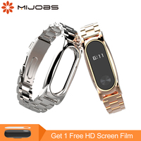 Mijobs Metal Strap For Xiaomi Mi Band 2 Strap Screwless Stainless Steel Bracelet Smart Watch Replace