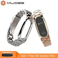 Mijobs Metal Strap For Xiaomi Mi Band 2 Strap Screwless Stainless Steel Bracelet Smart Watch Replace
