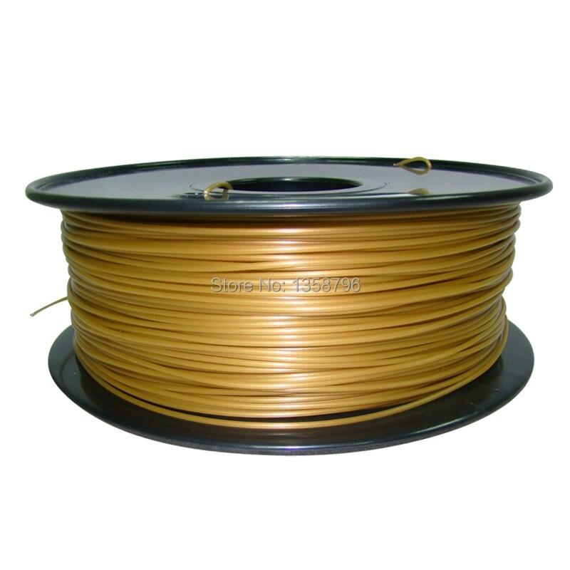 gold color MakerBot/RepRap/UP/Mendel 3d printer filaments PLA/ABS 1.75mm/3mm 1kg/2.2lb  plastic Rubber Consumables Material