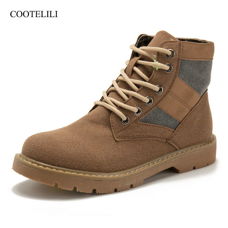 COOTELILI Ankle-Boots Suede Rubber Shoes Lace-Up Autumn Winter Fashion Women for Patchwork