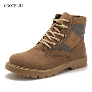 COOTELILI Fashion Ankle Boots For Women Autumn Winter Patchwork Rubber Shoes Women Lace-Up Suede Leather Boots Women 35-40