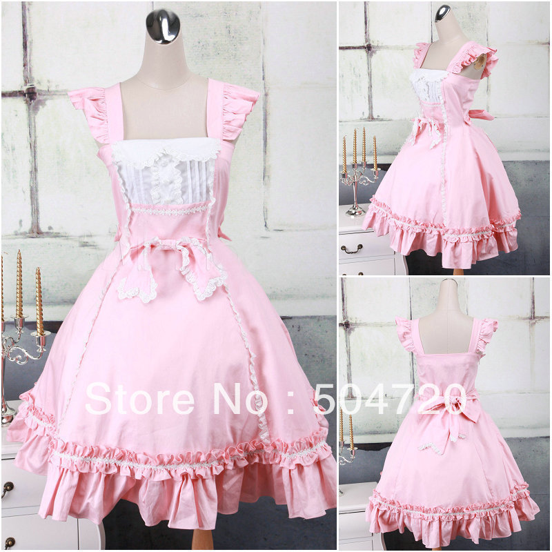 Freeshipping!2013 New Pink cotton Classic sweet Lolita dress victorian dress  Civil War Southern ae17f2c00a96