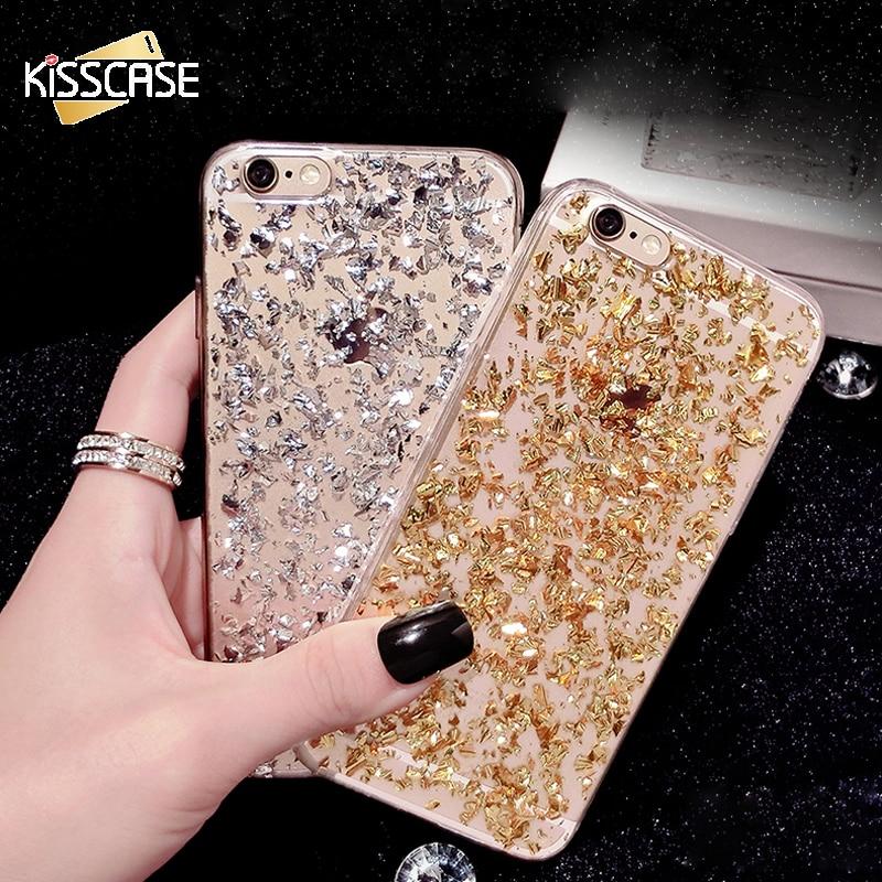 Kisscase oro paillette bling de la piel case para iphone 7 plus suave tpu teléfo