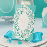 100pcs Blue Flower Laser Cut Hollow Wedding Invitation Card With Personal Customized Printing Envelopes Wedding Party
