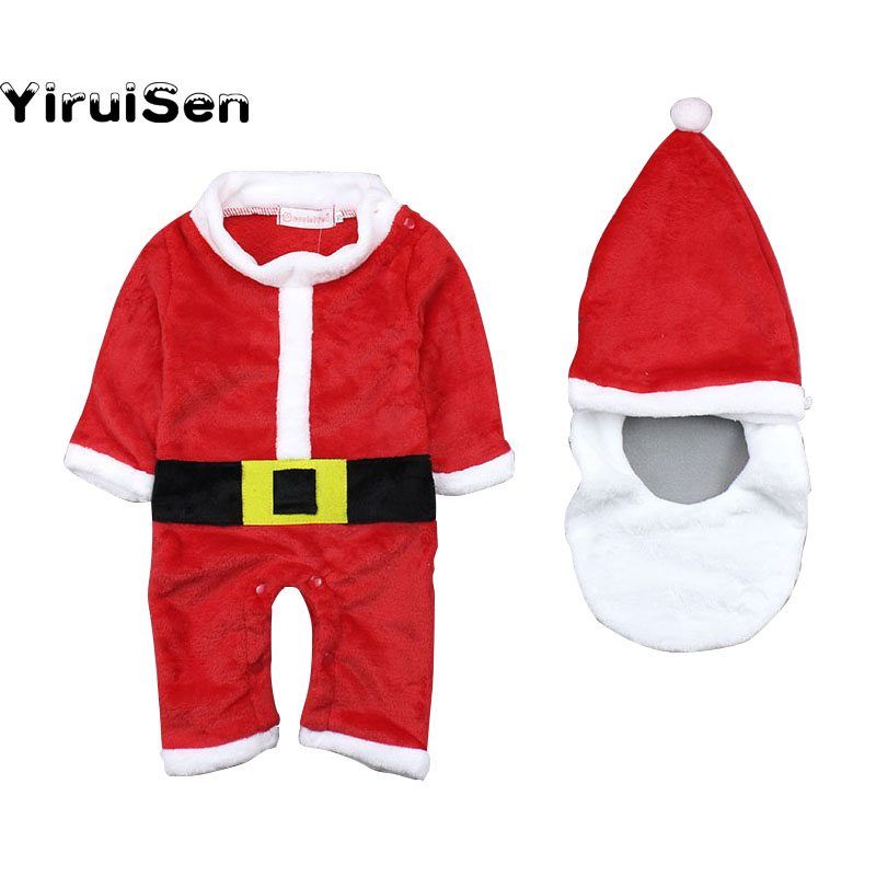 Baby Girls Boys 2017 Christmas Boys Suit + Cap+ Beard Santa Claus Outfit Costume Xmas Clothes New Year Dress Princess Costume novelty beard santa claus beanies men s women s funny christmas crocheted hats xmas party mask handmade winter warm gorros gifts