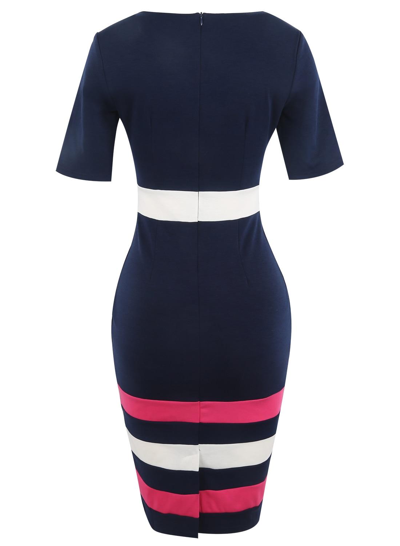 Oxiuly Dunkelblaues Kleid Tunika Frauen Formelle Arbeit Büro Scheide - Damenbekleidung - Foto 5
