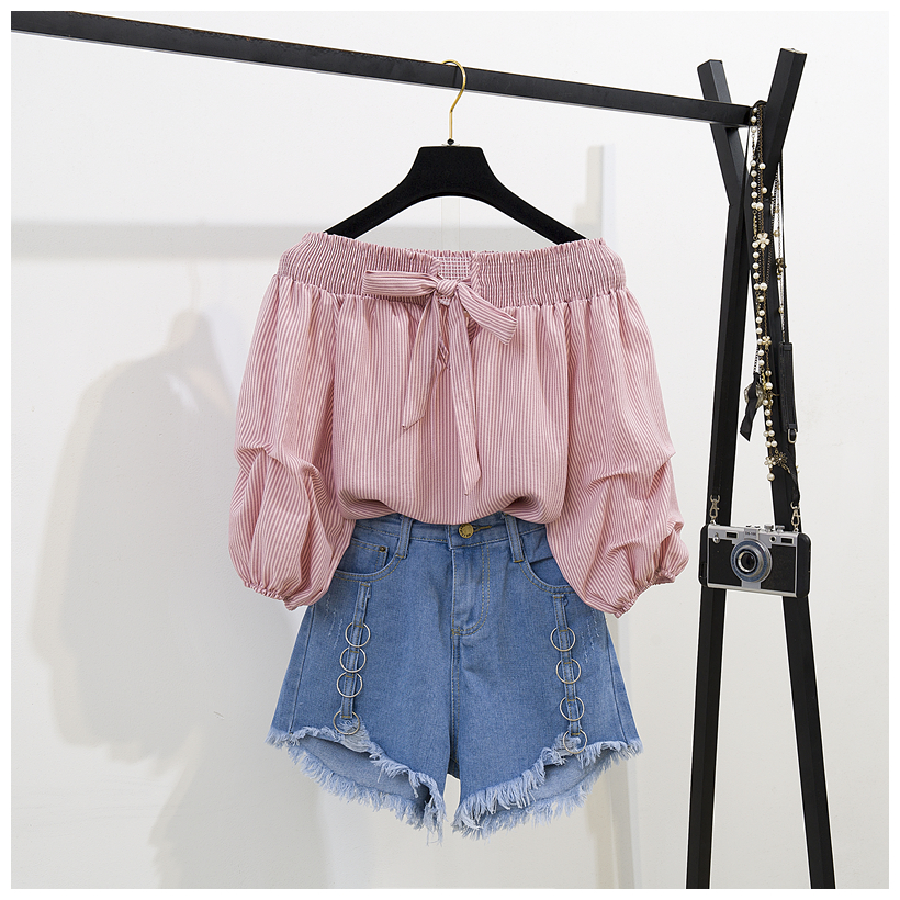 New Fashion Sets 2019 Summer Women Bow Off collar Shirts + Denim Shorts Casual two-piece set Female suits A1147