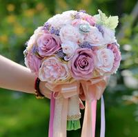 AYiCuthia Silk Wedding Bouquet Artificial Flowers Bridal Bouquet Rose and pink hydrangea Wedding Bouquets S92