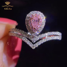 Fashion Women Silver Finger Rings Luxury Big Pink Gem CZ Cubic Zircon Stone Crystal Brand Wedding Engagement Romantic Jewelry