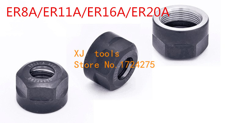 ER20A CNC Collet Chuck Nut Repair Parts High Speed Clamping Hex Nuts Black