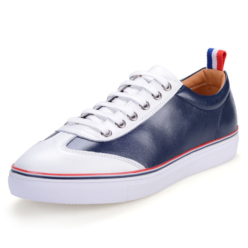Casual Sneakers Men British Style Genuine Leather Shoes For Teenager Boys Platform Lace-up Shoes Men Comfortable Footwear Autumn men s leather shoes vintage style casual shoes comfortable lace up flat shoes men footwears size 39 44 pa005m